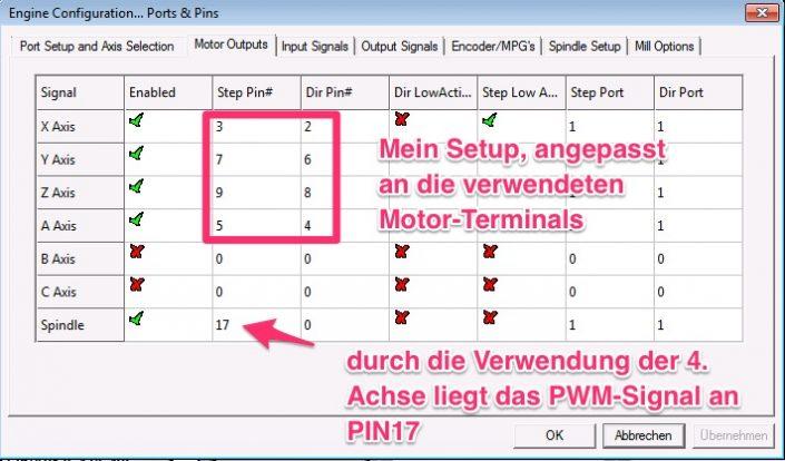 Mach3, Ports&Pins, Motor Outputs